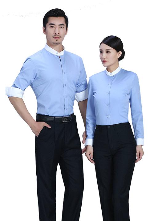 湖蓝立领职业衬衫