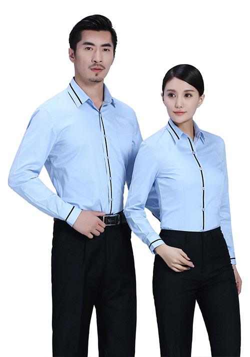 湖蓝加黑色拼条职业衬衫
